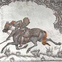 Ghalam Zani d'un joueur de polo sur sa monture par Mohammad Hita