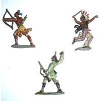 Guerriers peaux-rouges en plomb, fin XIXe