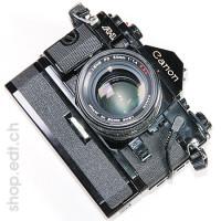Canon A-1 avec objectif FD 50 mm 1:1.4 S.S.C.*, moteur et dateur, appareil photo analogique de 1980